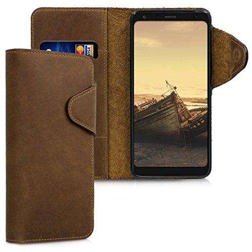 kalibri LG Q7 / Q7+ / Q7a (Alpha) Hülle - Leder Handyhülle für LG Q7 / Q7+ / Q7a (Alpha) - Braun - Handy Wallet Case Cover