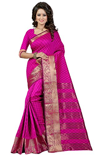 J B Fashion Women's Cotton Silk rani Saree With Blouse Piece(sarees for women-Bahubali 2 Rani)  available at amazon for Rs.899