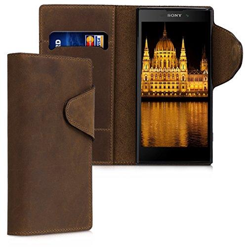 kalibri-Hlle-fr-Sony-Xperia-XA2-Echtleder-Wallet-Case-Schutzhlle-mit-Fach-und-Stnder-in-Braun