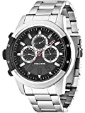 Police Kicker Men's Quartz Watch with Black Dial Chronograph Display and Silver Stainless Steel Bracelet 14381JSTB/02M