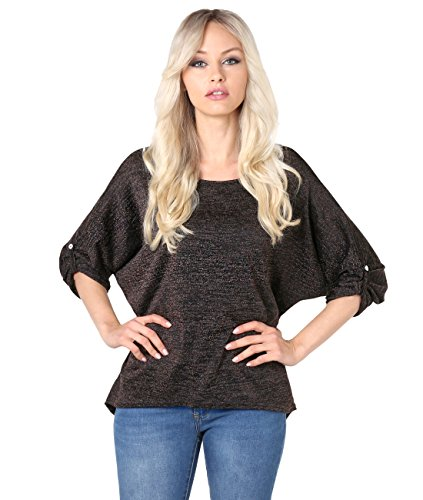 2119-BLK-SM: Lurex Knit 2-in-1 Tunic Top (Schwarz, Gr.S/M) (Knit Metallic Top)