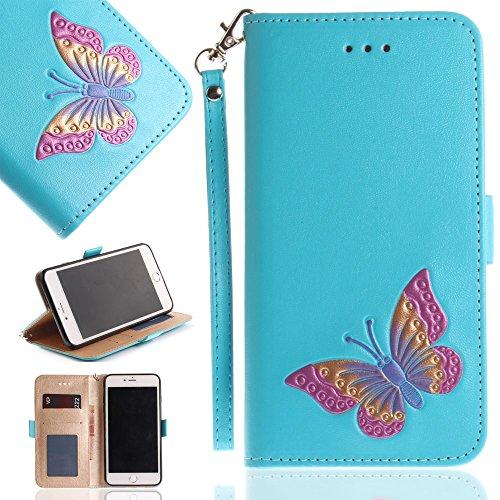 Tasche Hüllen Schutzhülle - case cover echtes Leder en PU Von Hand bemalt Butterfly blau für Apple iPhone 8 Plus,iPhone 7 Plus (Von Hand Apple Bemalt)