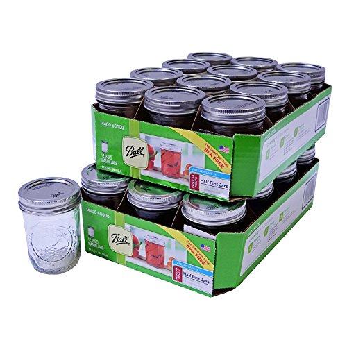 Ball Mason Jars - Regular Mouth - Can or Freeze - 8oz Half Pint - 24 Jars by Ball Half Pint Mason Jar