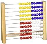 Zählrahmen 818 - Holz, Plastik-Perlen in blau, gelb, rot, weiss, 21cm