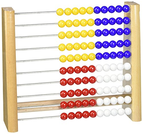 Unbekannt Zählrahmen 818 - Holz, Plastik-Perlen in blau, gelb, rot, weiss, 21cm