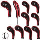 EDATOFLY 10 Pezzi Coprimazze da Golf Stampa Numero Copri Mazza Ferri con Cerniera Lungo Collo e 1 Pezzo Spazzola da Golf Club (Nero + Rosso)