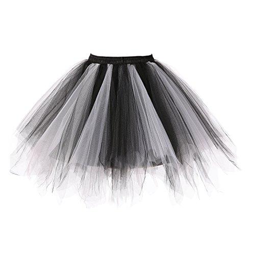 Changuan Frauen Vintage kurze Petticoat Rock Ballett Bubble Tutu mehrfarbige Pettiskirt Größe L/XL Schwarz-Weiß (Schwarz Weiß Rock)