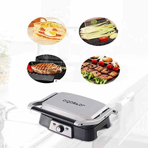 Aigostar Hitte 30HFA   Grill  parrilla  sandwichera y máquina de panini  1500 W de potencia  placas antiadherentes con apertura de 180 °  intensidad regulable  toque frío. Color plata. Diseño exclusivo.