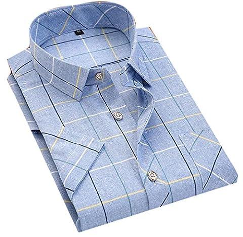 Fulok Mens Classic Short Sleeve Plaid No-iron Button Down Shirts XL Light Blue