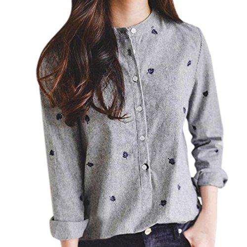 Donna maglietta top t shirt tees camicia camicie camicetta blouse blusa autunno casuale maglie manica lunga camicia autunno manica lunga casual ricamo colletto righe in cotone lino
