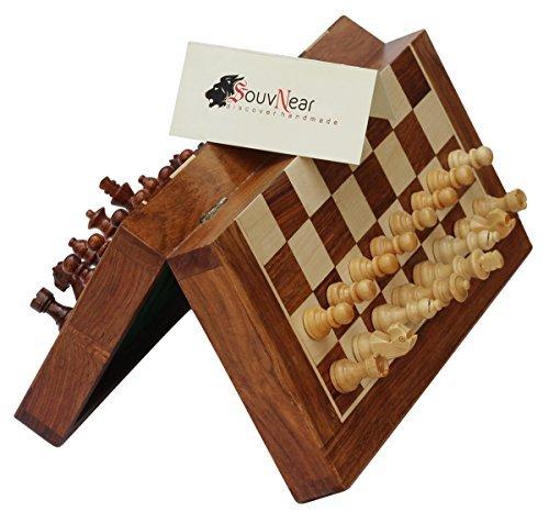 Speicher Holz Schach-set Mit (Magnetisches Souvnear-Schach-Set - 26,7x 26,7cm - zusammenklappbares Schachbrett mit 2extra Königinnen und Reisetasche - Premium-Qualität-Palisander-Schach-Spiel mit integriertem Speicher)