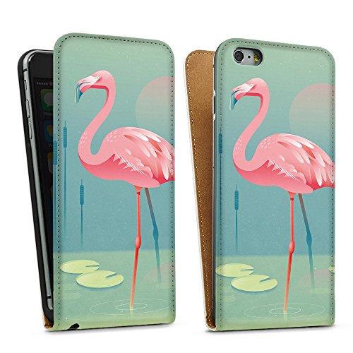 artboxONE Handyhülle iPhone 4/4S Flamingo - Comic - Smartphone Case mit Kunstdruck hochwertiges Handycover kreatives Design Cover aus hartem Kunststoff von Rainer Michael Downflip Case weiß