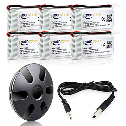 6 Stück Keenstone 3,7V 500mAh 25C LiPO Batterie mit 6-Port-Ladegerät für Hubsan X4 (H107 H107C H107D H107L V252 JXD385 F180C) 4 Kanal 2.4GHz RC QuadCopter Kompatibel mit Walkera Super CP