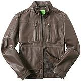 BOSS Green Herren Lederjacke Alltagsjacke Uni & Uninah, Größe: 50, Farbe: Braun