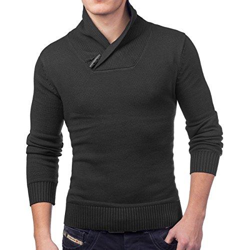 Collar Sweater Knit dello scialle uomo Kodiak ID1382 (vari colori) Schwarz