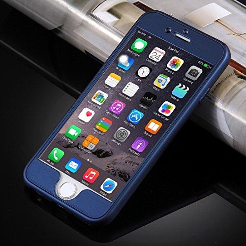 MXNET Fall für iPhone 6 u. 6s, 360 Grad Voller Schutz weicher TPU rückseitige Abdeckung + PC vorderer Kombinationsfall ,Iphone 6/6s Case ( Color : Red ) Dark blue