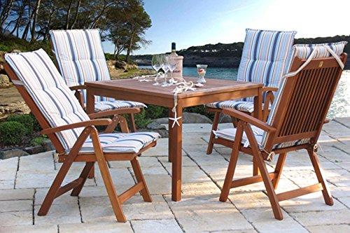 Grasekamp Gartenmöbel 9tlg mit 90cm Tisch Balkonmöbel Santos Marine