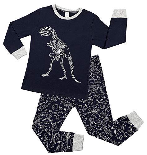 Charmo Kleine Schlafanzug Jungen Mädchen Pyjamas Halloween Party Pyjama Kinder Dinosaurier Sleepwear Langarm Baumwolle Nachtwäsche 2 Stück Body Winter Outfits Nachtwäsche Schwarz 4 Jahre