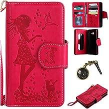 PU Coque ( Samsung Galaxy J5 (2017) ,PU Cuir Portefeuille Etui Housse Case Cover portefeuille,carte de crédit Fentes pour (9 fente) ,idéal pour protéger votre téléphone + Bouchons de poussière (4)