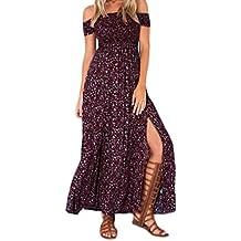 da4ef27b8f8f ... Estivi Vintage Stampato Floreali Mare Hippie ... Vestiti Lunghi Donna  Moda alla Moda Stampa Fiore Vestito da Boho Elegante Chic Ragazza Manica  Corta