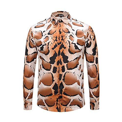 CHENS Camisa/Casual/Unisex/M Ropa para Hombres Camisa Impresa Estilo Leopardo de Tigre Estilo Occidental Camisas de algodón Juveniles Ocasionales Tops de Clubes nocturnos