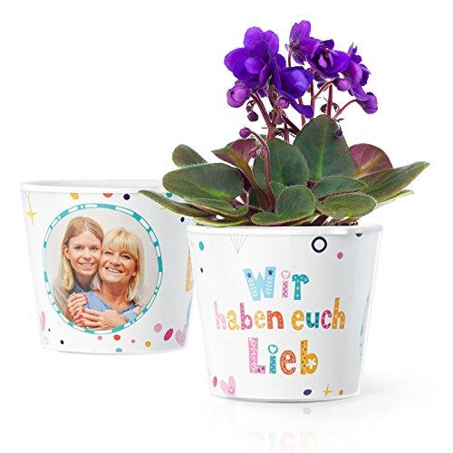 Oma und Opa Geschenk - Blumentopf (ø16cm) mit Bilderrahmen für zwei Fotos (10x15cm) | Wir haben euch lieb