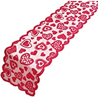 Sevenfly Valentines Day Table Runner Red Lace Table Runner For Wedding Party Valentines Decorations Home Heart Table Runner,red