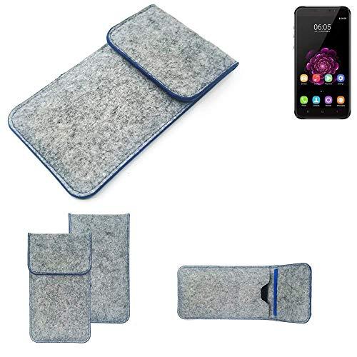 K-S-Trade® Filz Schutz Hülle Für -Oukitel U20 Plus- Schutzhülle Filztasche Pouch Tasche Case Sleeve Handyhülle Filzhülle Hellgrau, Blauer Rand