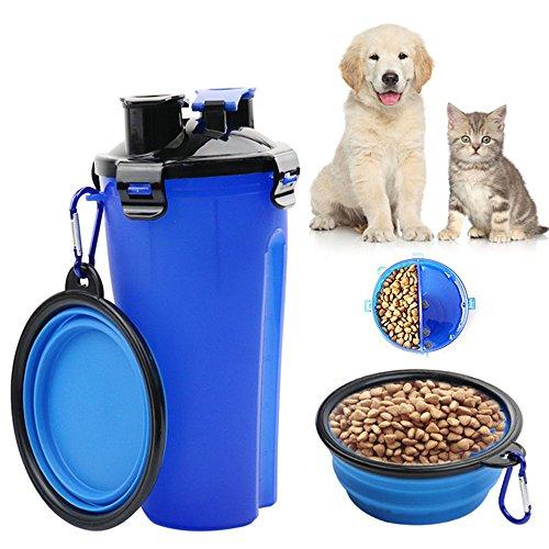 TOPmore Haustierreisebecher 2 in 1 Hund Trinkwasser-Flasche mit Schüssel, beweglicher Haustier-Spielraum-im Freien Wasser-Schalen-Nahrungsmittelbehälter für 250g Imbiss und 350ml Wasser-blaue u. Gelbe Farbe (Blau) (Kostenlose Flasche 1)