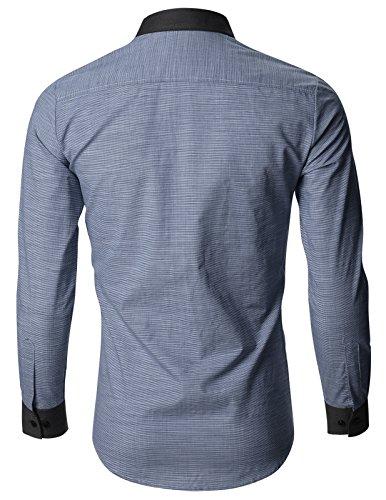 FLATSEVEN Chemise Slim Fit Habillée Classique Homme SH195 Bleu Marine