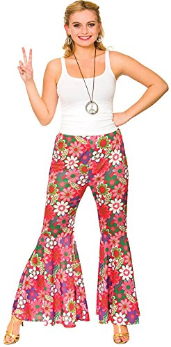 Ladies Pink Flower Power Hippie Pants Fancy Dress Item (Fancy Dress Kostüme Flower)