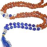 Exclusive Yoga Chakra mala / For Third Eye & Throat Chakra / Healing Chakra Balancing Rudraksh mala with 5 FACE / 5 Mukhi rudraksha and Genuine Blue Hakik semi-precious gemstones / for healing and peach of mind