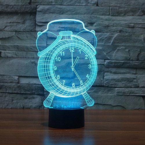 3D Nachtlicht, SUAVER 3D Visualisierung Amazing Optische Täuschung 7 Farben ändern Touch Stimmungslichter Für Schlafzimmer Kinderzimmer (Uhr)