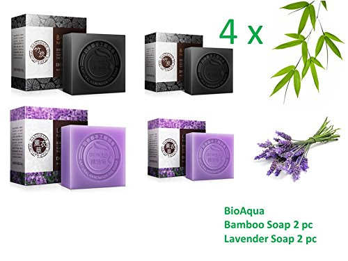 4 bioa qua Bambou Bambou Charbon Savon et Lavender Savon Vert