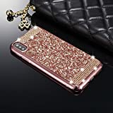 iPhone X 5.8 inch Case,Luxury Bling Glitter [Crystal Rhinestone Diamond] Soft TPU Rubber Silicone [Electroplating Edge] Shockproof Protective Case Cover for iPhone X [5.8 inch] - Colour Rose Gold