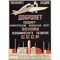 ALEXANDER RODCHENKO Vintage-Unione Sovietica Constructivism DOBROLET AIRLINES Cartolina illustrata, formato A3, 250 g/mq, riproduzione
