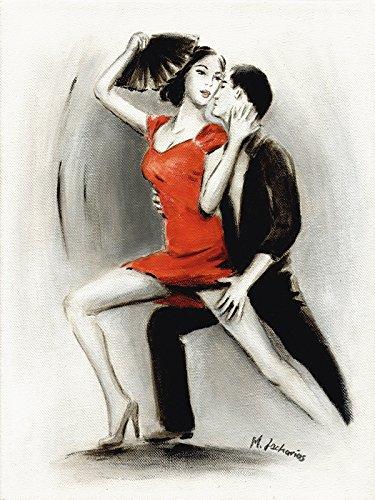 Artland Qualitätsbilder I Wandtattoo Wandsticker Wandaufkleber 90 x 120 cm Sport Funsport Tanzen Malerei Rot D3NR Leidenschaftliches Tanzpaar Lateinamerikanische Malerei