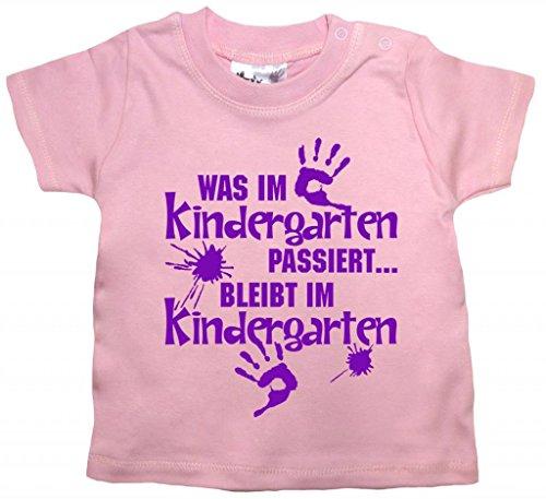 Dirty Fingers, Was im Kindergarten passiert, Baby Mädchen T-shirt, 12-18m, Rosa (Passiert Kinder T-shirt)