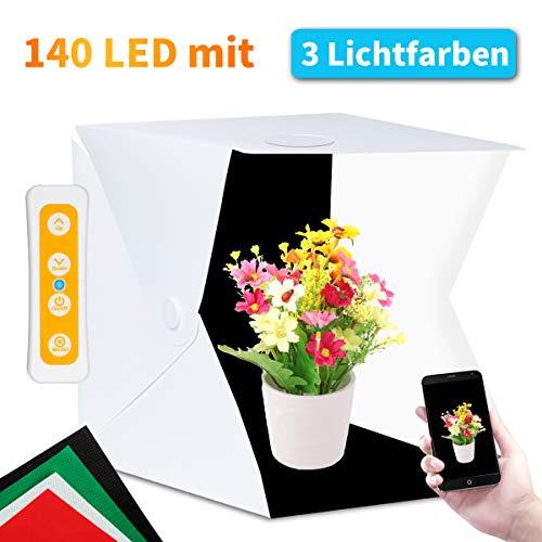 Fotostudio, Fotobox Lichtzelt 40x40 mit 3 Lichtfarben 140 LED Mini Mobiles Tragbare Tischplatte Fotografie Leuchtkasten, Lichtwürfel...