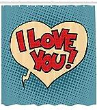 ABAKUHAUS Te Amo Cortina de Baño, Estilo del Arte Pop Cómico, Tela Sintética Estampa Digital Colores Vibrantes Set 12 Ganchos, 175 x 240 cm, Azul Petróleo Marfil Rojo