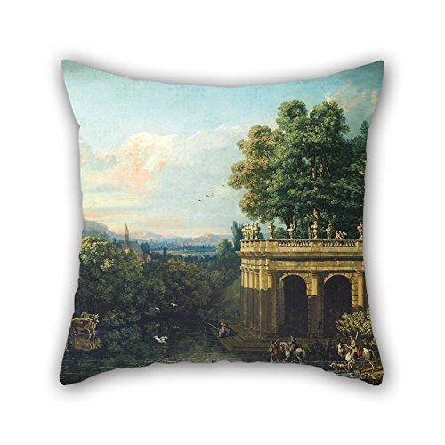 SkuGo-Oil-Painting-Bernardo-Bellotto-Architectural-Caprice-With-A-Palace-Pillow-Shams-best-For-Dinning-Roommontherliving-Roomdivanfestival-16-X-16-Inches-40-By-40-Cmboth-Sides