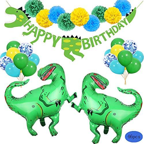 SPECOOL 3D Dinosaurier Party Dekorationen - Welt Jurassic Style Dinosaurier Alles Gute Zum Geburtstag Banner und Ballons-Dinosaurier Set Party Favors Spielzeug für Kinder Jungen