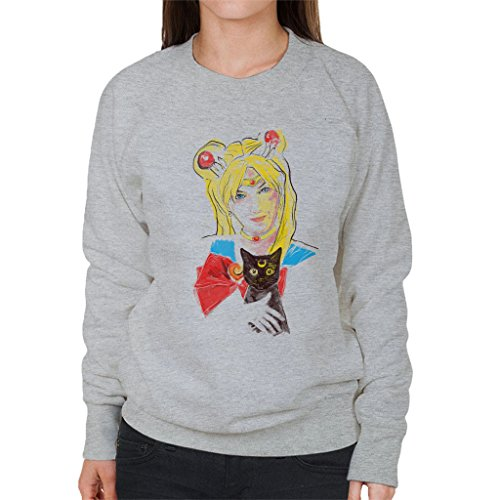 Sailor Moon And Luna Realistic Women's Sweatshirt Heather Grey
