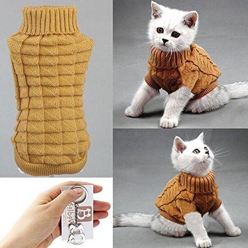 Bolbove Kabel Knit Rollkragen Pullover für Kleine Hunde & Katzen Strickwaren kaltem Wetter-Outfit, Medium, Braun