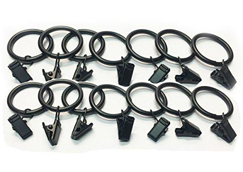 10 x SCHWARZ, FÜR STANGE, METALL, RINGE MIT CLIPS, VOILE-RINGE, 30 MM, ZUM AUFHÄNGEN, Fusion (TM) -