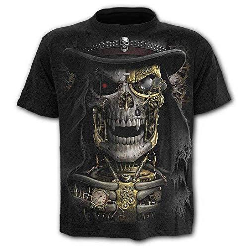 Größe XXL - C010 - T-Shirt - Shirt - Shirt - 3D - Kurze Ärmel - Männer - Frauen - Unisex - Lustig - Geschenk - Zubehör - Cosplay - Maskerade - Totenkopf - Steampunk - Gothic - Vintage Rock