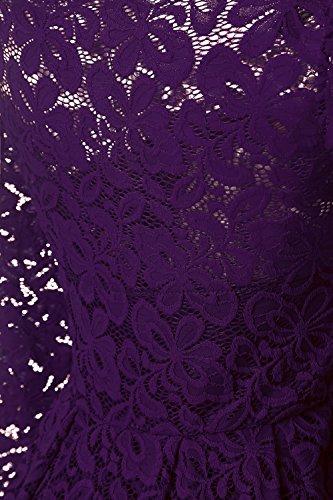 NALATI Damen Spitzenkleid Schulterfrei Herbst Vintage 1950er Off Schulter Cocktailkleid Partykleid langarm knielang festlichAbendkleid Gr.36-46 Lila