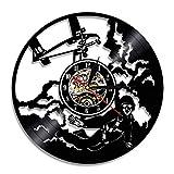 LZXSGZ Horloge Murale en Vinyle avec Horloge Pilote d'avion 3D Décoration Murale...