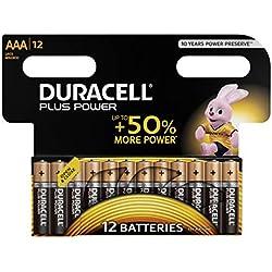 Duracell Plus Power Pilas Alcalinas AAA, paquete de 12