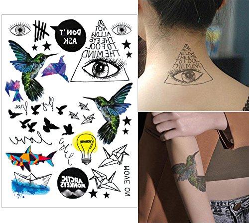 COKOHAPPY 5 Blätter Temporäre Tattoo - Woodpecker Lamp Shark - Flash Tattoo Körper Aufkleber Art Art